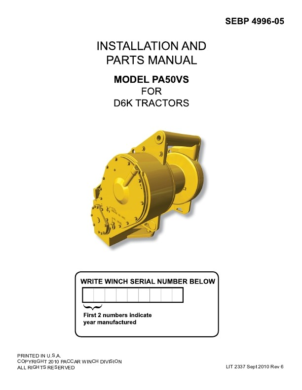 PA50VS FOR CAT D6K, PARTS & INSTALL
