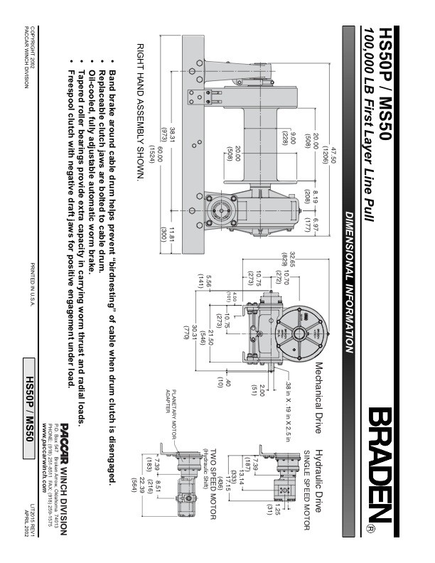 HS50P/MS50 Specification Sheet