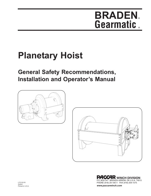 Planetary Hoist - Gen. Safety Recommendations, Inst. and Operator's Manual