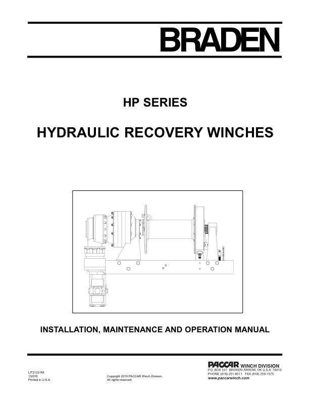HP Series - Safety, Inst. and Operator's, and Maintenance Manual