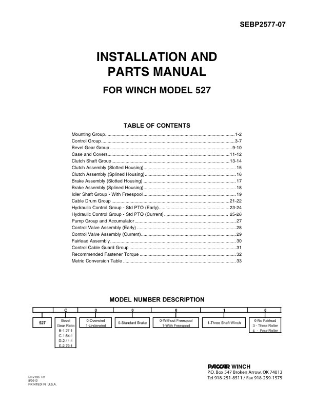 CAT-Model 527 Installation and Parts Manual