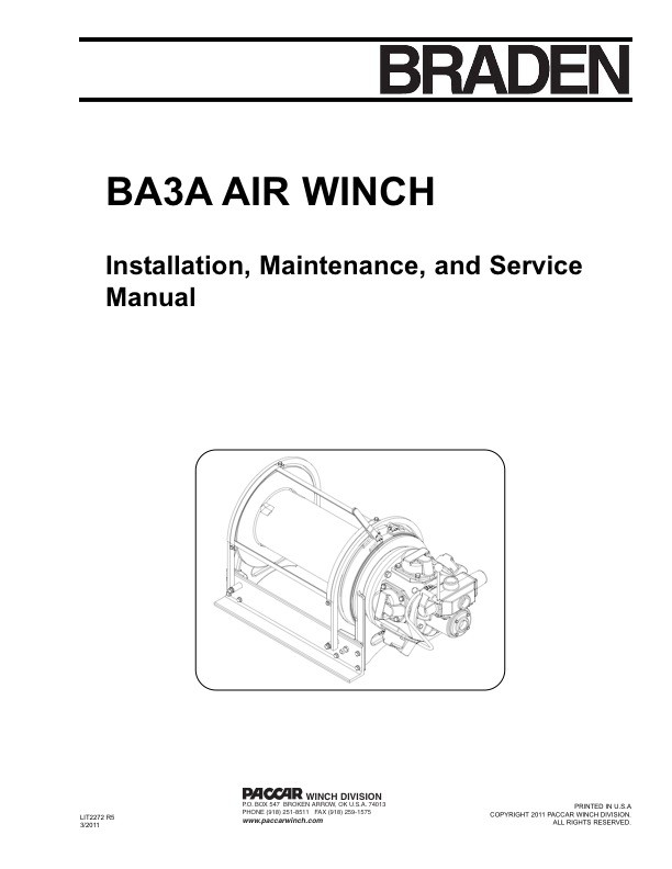 BA3A Air Winch Installation & Service Manual