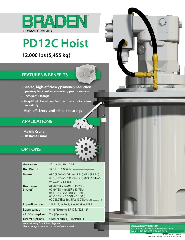 PD12C Sales & Specification Sheet