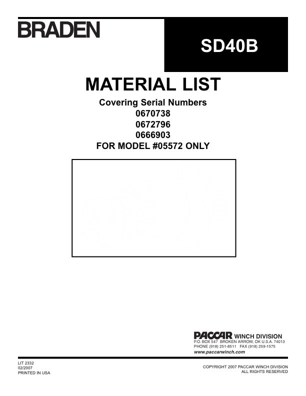 SD40B Material List for  #05672