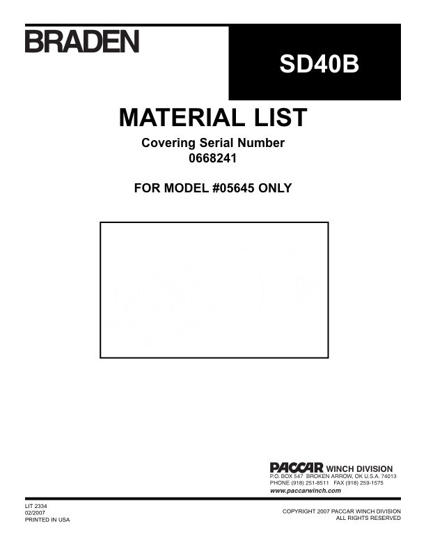 SD40 Material List for PN 05645 Only