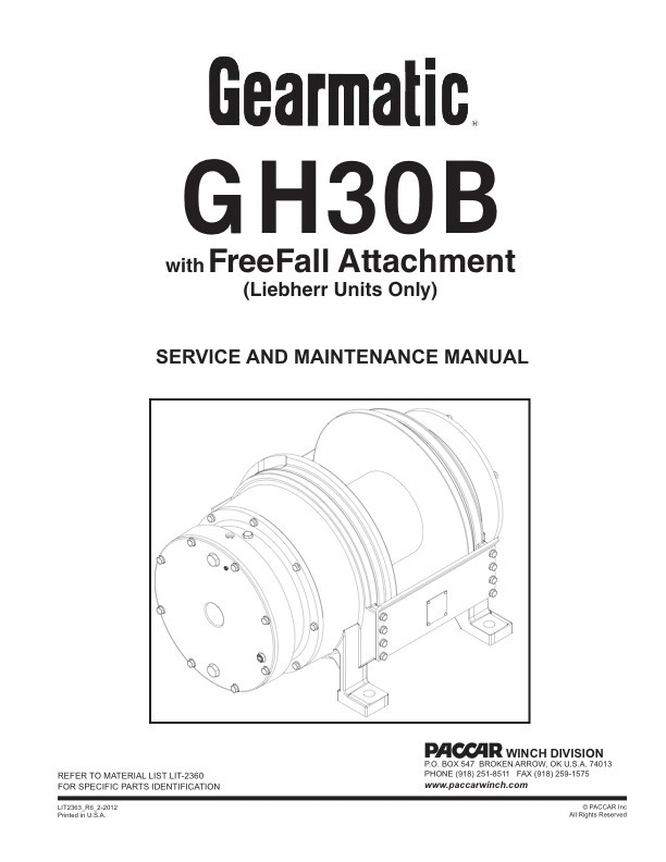 GH30B with FreeFall Service Manual