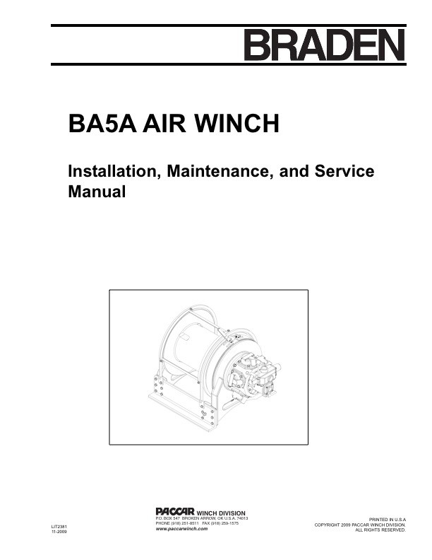 BA5A Air Winch Installation, Service, and Maintenance