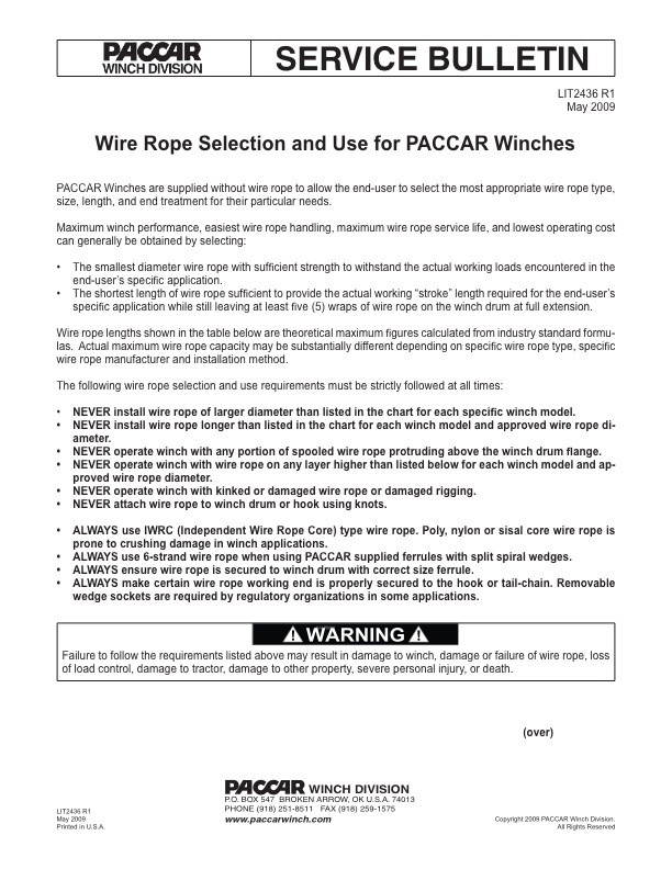 Rope Selection & Use for Caterpillar Winches