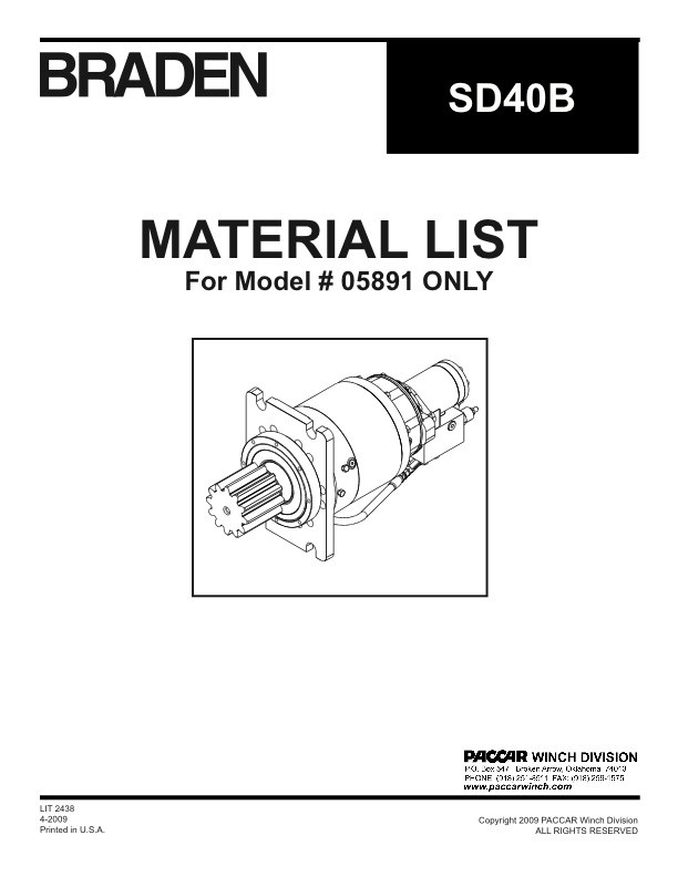 SD40 Material List Specific to Unit #05891
