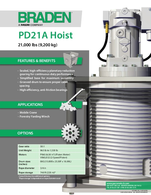 Model PD21A Spec Sheet