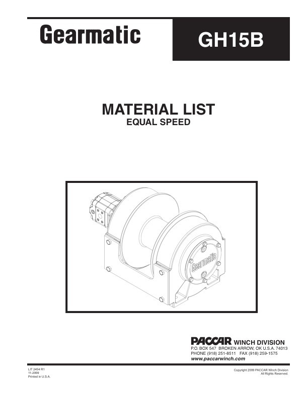 GH15B Equal Speed Material List