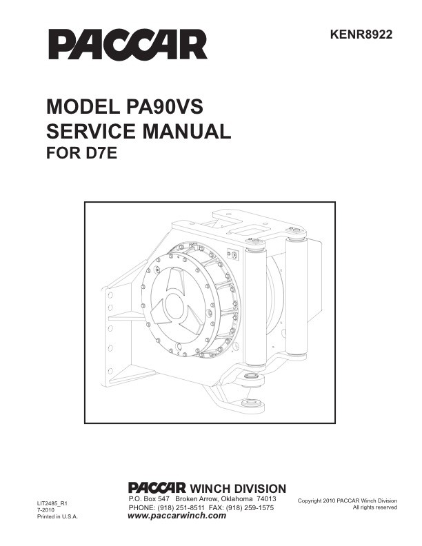 PA90VS / CAT D7E Service Manual