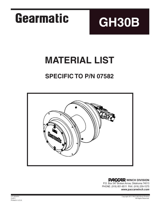 GH30B Material List (Specific to P/N 07582)