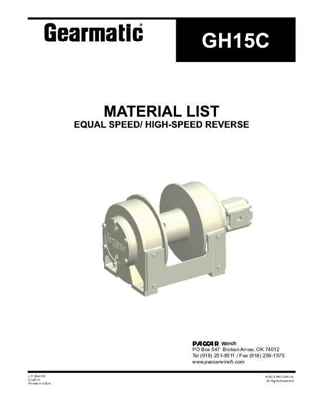 GH15C EQUAL SPEED / HIGH SPEED REVERSE MATERIAL LIST