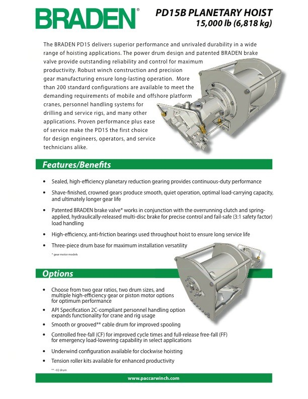 PD15B Sales & Specification Sheet