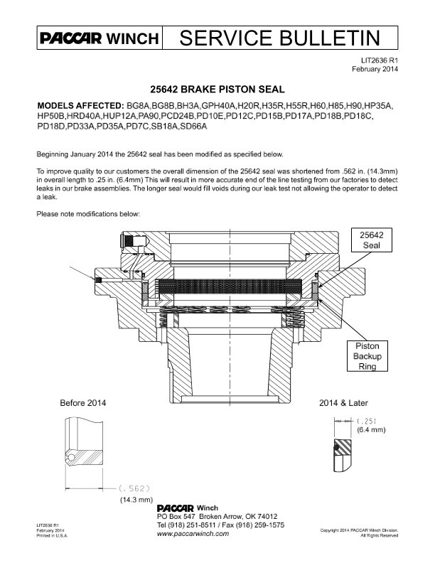 25642 Brake Piston Seal Modification