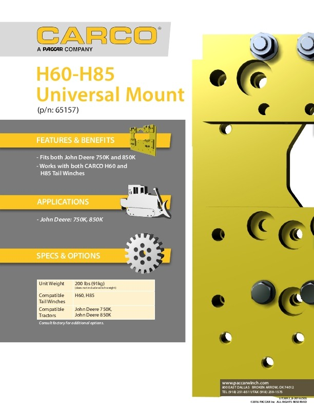 Carco - H60 - H85 Universal Mount (p/n: 65157) Sales Specification Sheet
