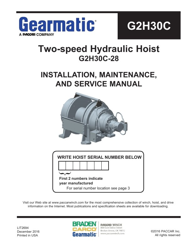 Gearmatic g2h30c two speed hydraulic hoist installation gearmatic g2h30c two speed hydraulic hoist installation maintenance and service manual publicscrutiny Choice Image