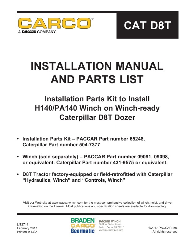 Carco installation parts kit to install h140pa140 winch on winch carco installation parts kit to install h140pa140 winch on winch ready caterpillar publicscrutiny Choice Image