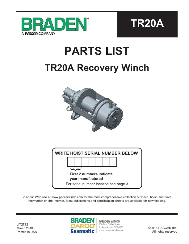 Braden - TR20A Recovery Winch - Parts List