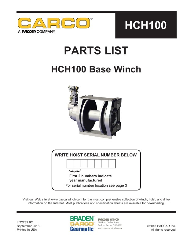 paccar winch parts on