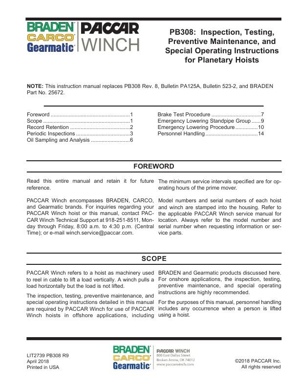 Inspection, Testing, Preventive Maintenance, and Special Operating Instructions for Planetary Hoists