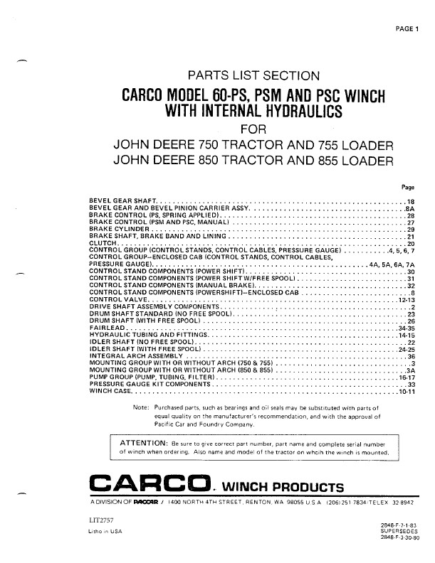 Carco Parts List Section Model 60 Ps Psm And Psc Winch With