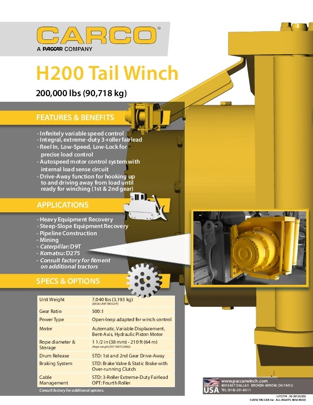 Carco - H200 Tail Winch 200,000lbs (90,718kg) - Sales Sheet