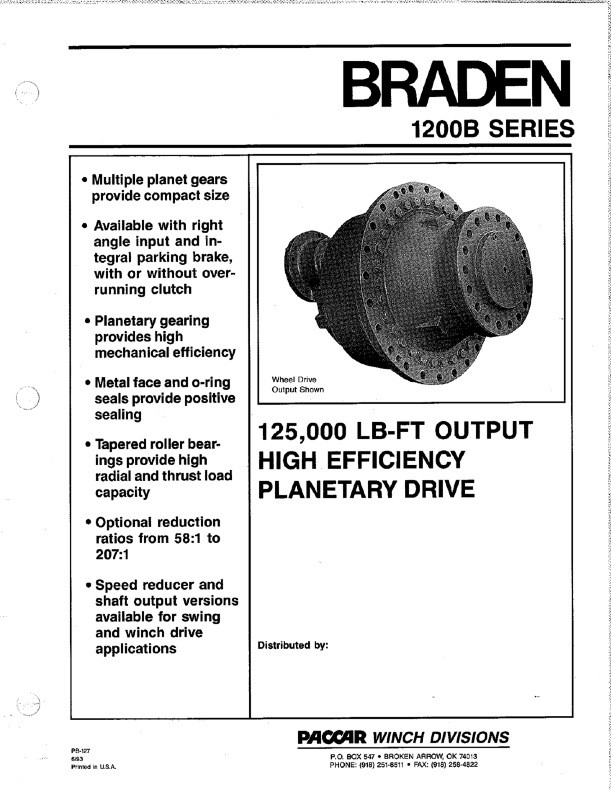 WD1200A Wheel Drive Sales Sheet