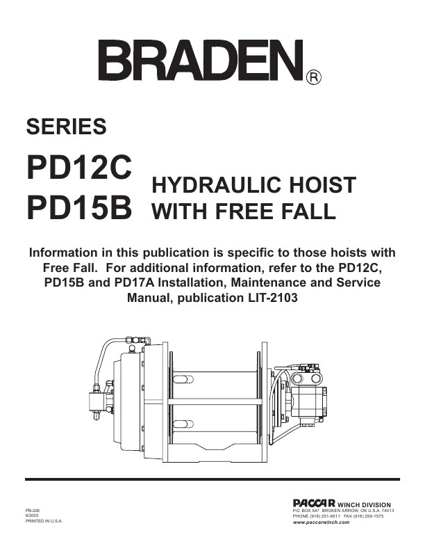 PdC And PdB Hydraulic Hoist With Free Fall Operation Manual