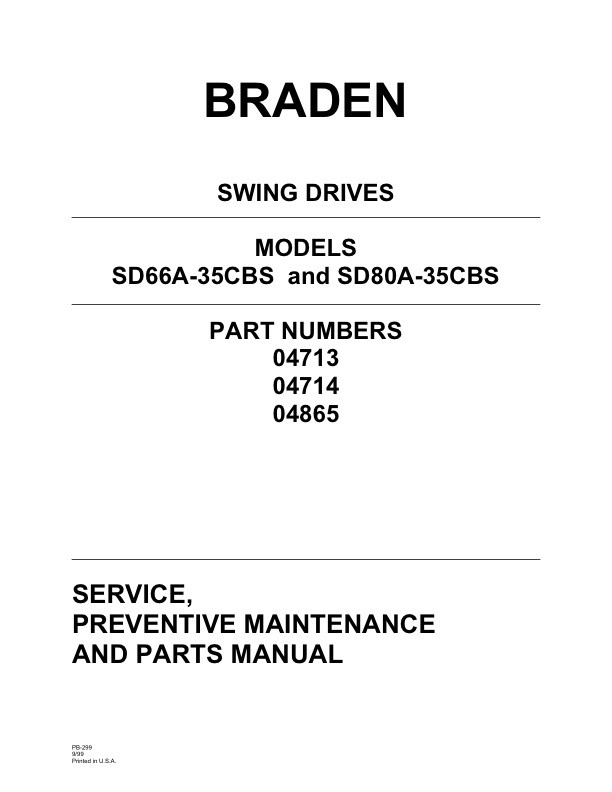 Braden Swing Drives Models SD66A-36CBS and SD80A-35CBS