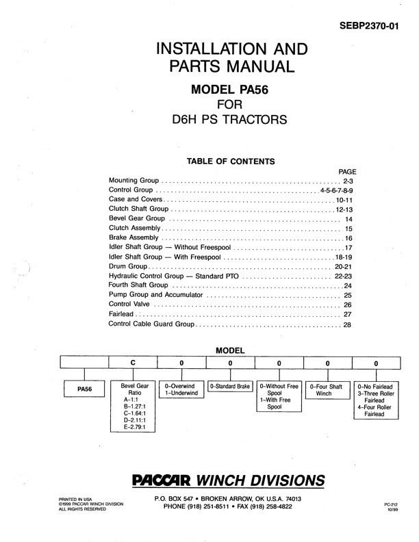 PA56 for CAT D6H Parts Manual